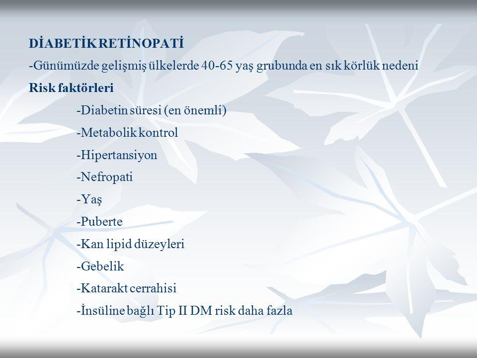 DİABETİK RETİNOPATİ -Günümüzde gelişmiş ülkelerde 40-65 yaş grubunda en sık körlük nedeni Risk faktörleri -Diabetin süresi (en önemli) -Metabolik kont
