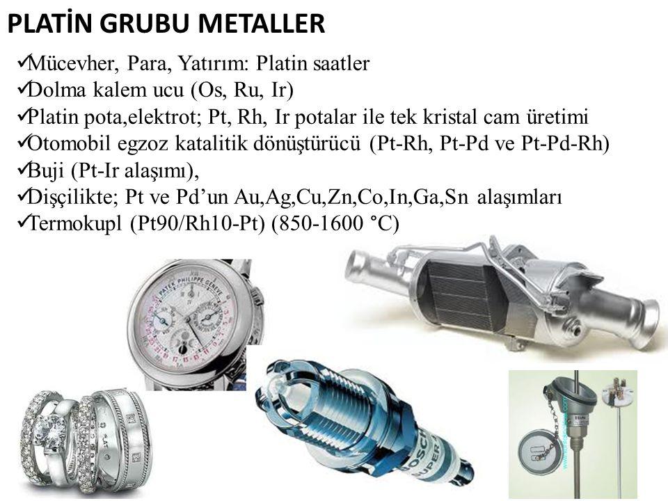 Mücevher, Para, Yatırım: Platin saatler Dolma kalem ucu (Os, Ru, Ir) Platin pota,elektrot; Pt, Rh, Ir potalar ile tek kristal cam üretimi Otomobil egz