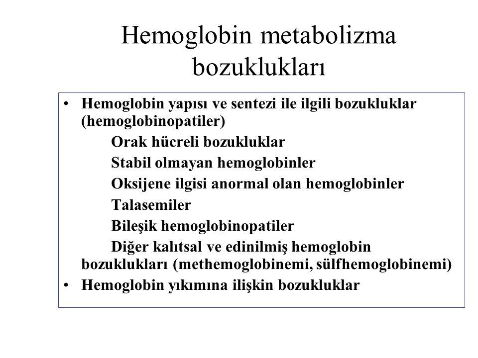 Hemoglobin metabolizma bozuklukları Hemoglobin yapısı ve sentezi ile ilgili bozukluklar (hemoglobinopatiler) Orak hücreli bozukluklar Stabil olmayan h