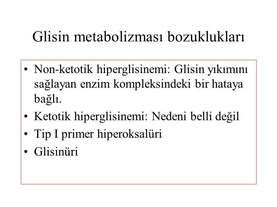 Glisin metabolizması bozuklukları Non-ketotik hiperglisinemi: Glisin yıkımını sağlayan enzim kompleksindeki bir hataya bağlı. Ketotik hiperglisinemi: