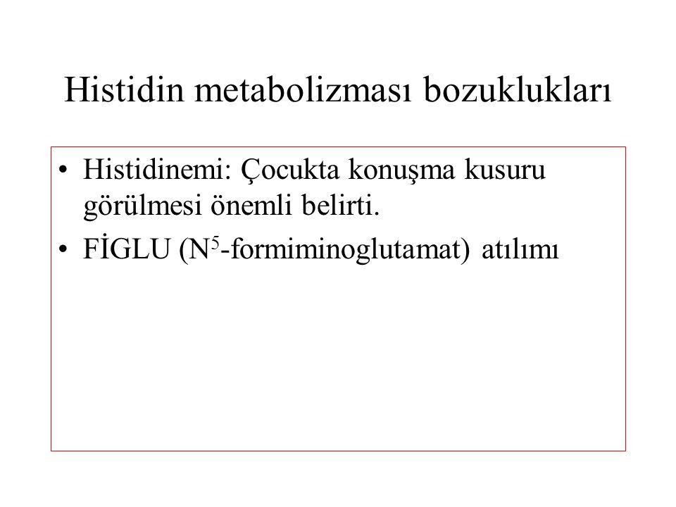 Histidin metabolizması bozuklukları Histidinemi: Çocukta konuşma kusuru görülmesi önemli belirti. FİGLU (N 5 -formiminoglutamat) atılımı