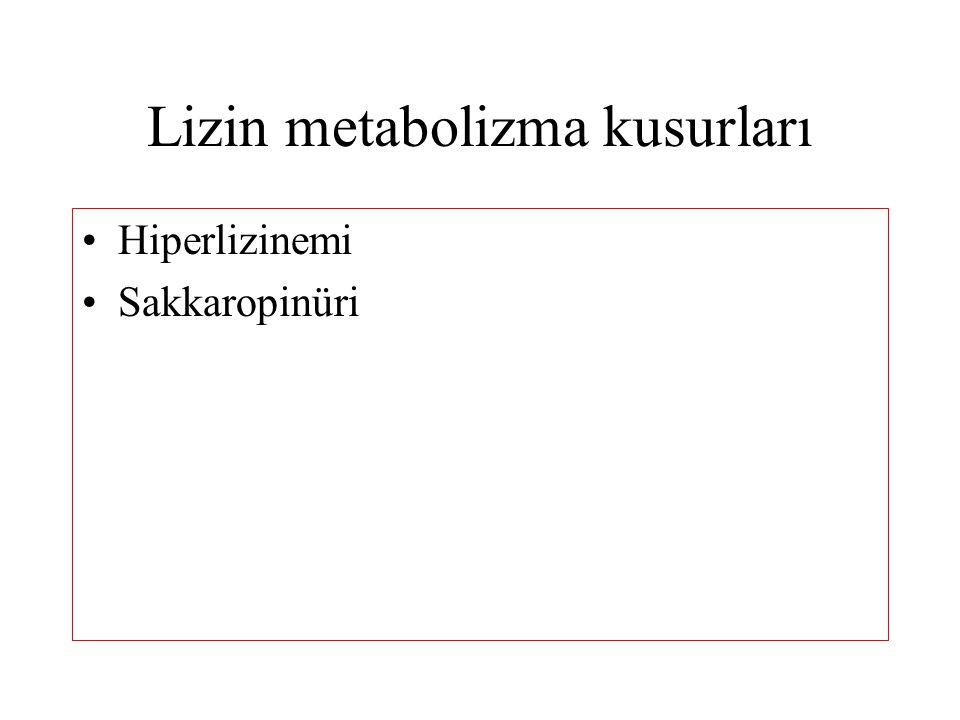 Lizin metabolizma kusurları Hiperlizinemi Sakkaropinüri