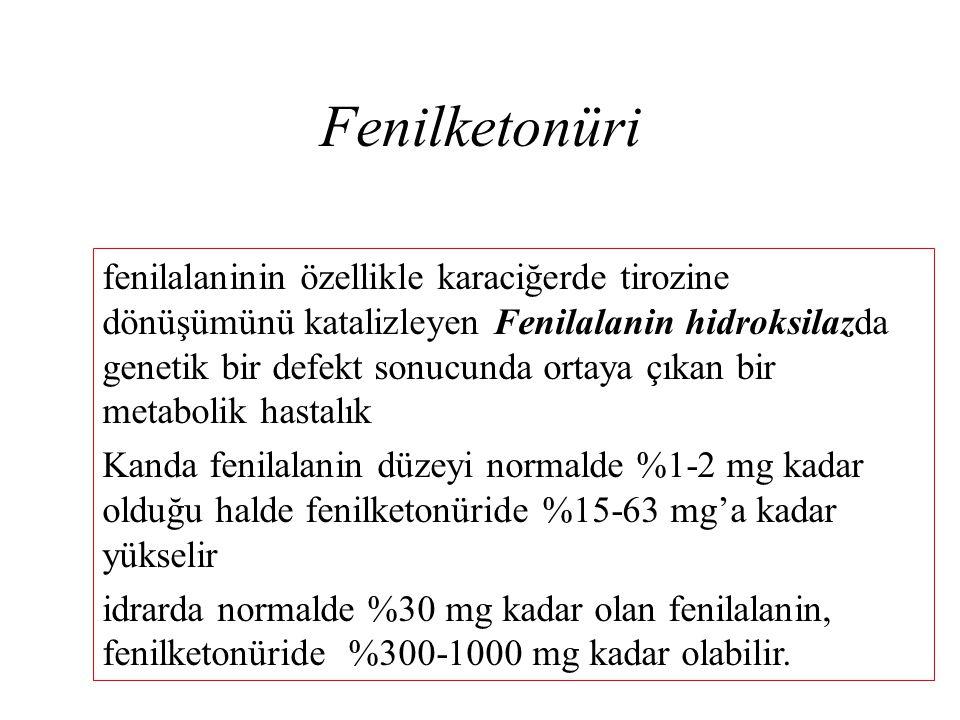 Fenilketonüri fenilalaninin özellikle karaciğerde tirozine dönüşümünü katalizleyen Fenilalanin hidroksilazda genetik bir defekt sonucunda ortaya çıkan