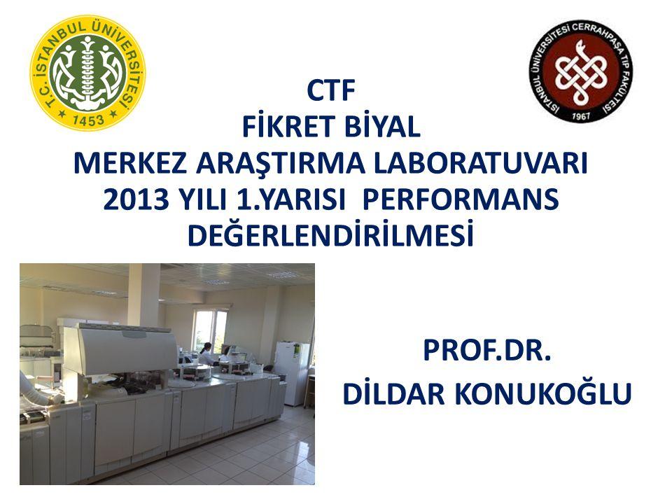 CTF FİKRET BİYAL MERKEZ ARAŞTIRMA LABORATUVARI 2013 YILI 1.YARISI PERFORMANS DEĞERLENDİRİLMESİ PROF.DR.