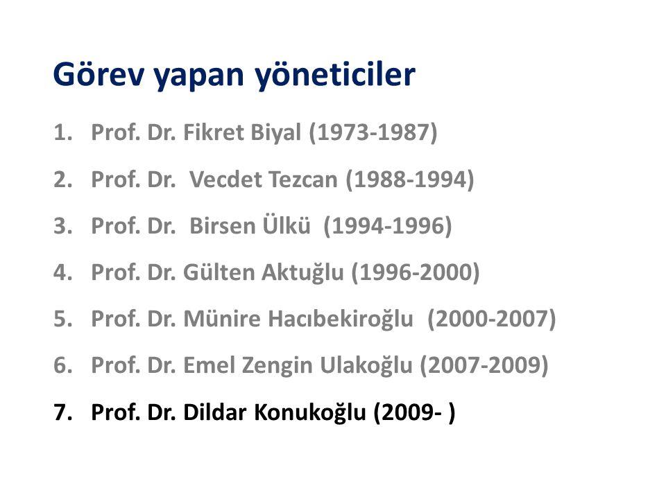 Görev yapan yöneticiler 1.Prof. Dr. Fikret Biyal (1973-1987) 2.Prof. Dr. Vecdet Tezcan (1988-1994) 3.Prof. Dr. Birsen Ülkü (1994-1996) 4.Prof. Dr. Gül