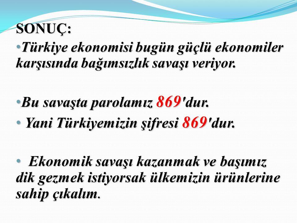 SONUÇ: Türkiye ekonomisi bugün güçlü ekonomiler karşısında bağımsızlık savaşı veriyor.