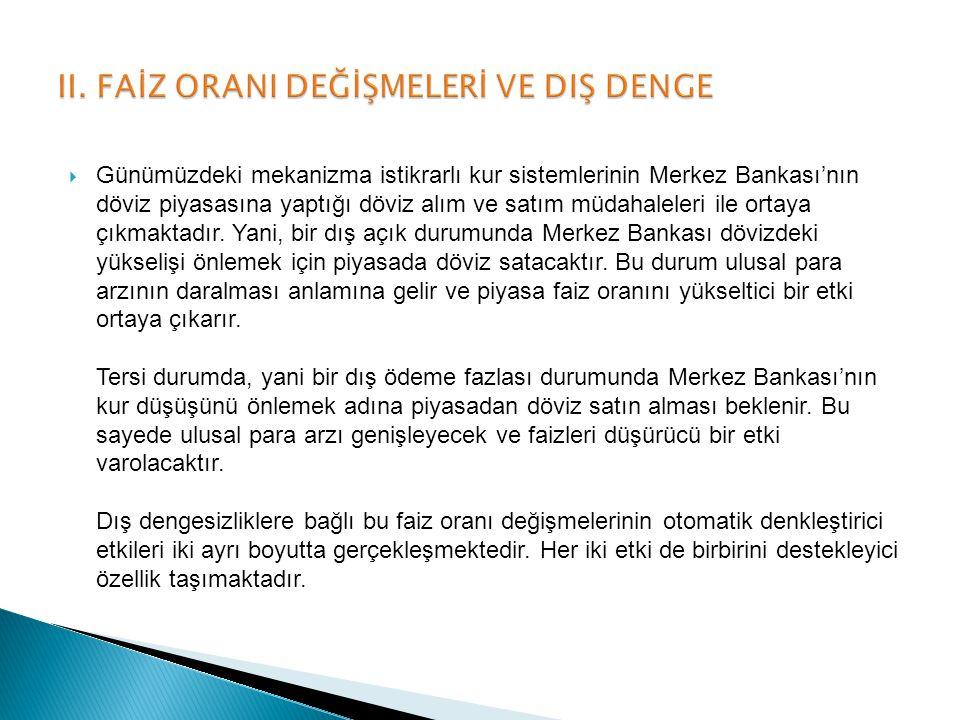 Günümüzdeki mekanizma istikrarlı kur sistemlerinin Merkez Bankası'nın döviz piyasasına yaptığı döviz alım ve satım müdahaleleri ile ortaya çıkmaktad