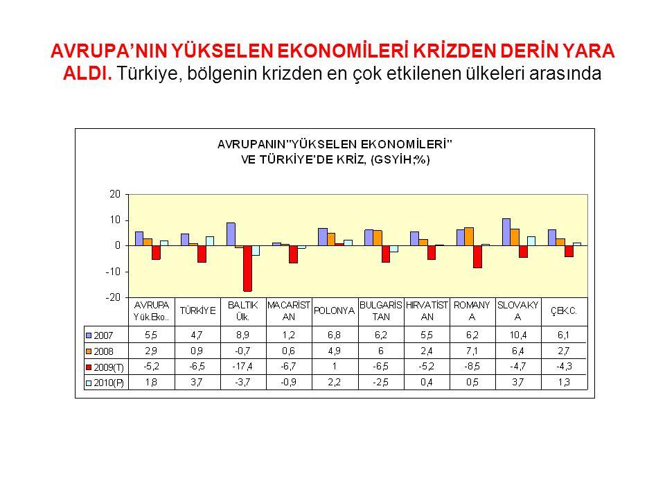 AVRUPA'NIN YÜKSELEN EKONOMİLERİ KRİZDEN DERİN YARA ALDI. Türkiye, bölgenin krizden en çok etkilenen ülkeleri arasında