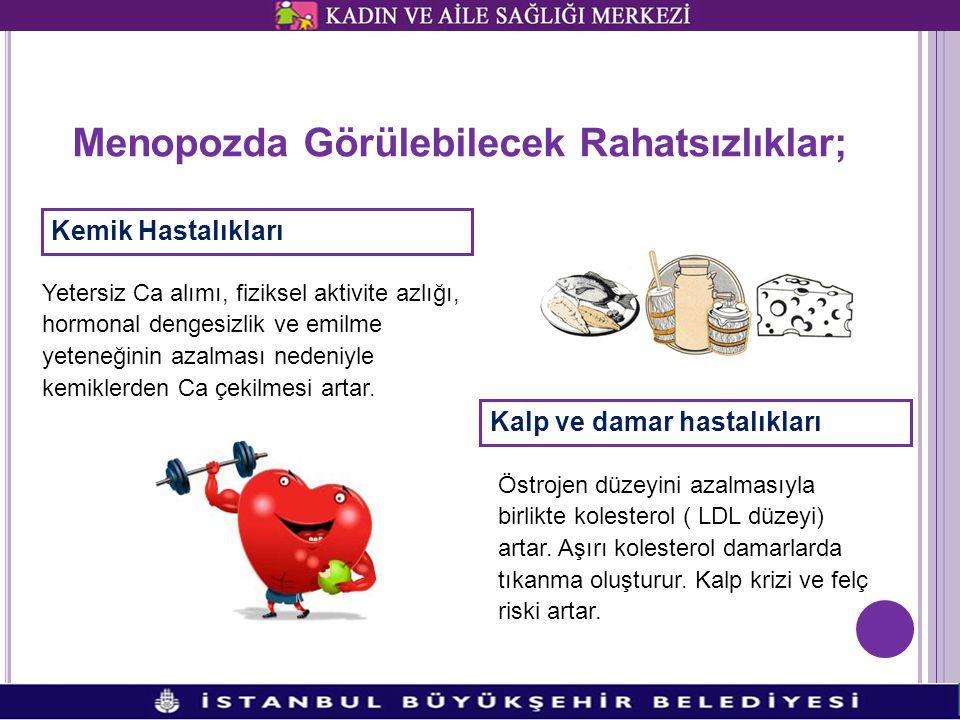 Menopozda Görülebilecek Rahatsızlıklar; Kemik Hastalıkları Yetersiz Ca alımı, fiziksel aktivite azlığı, hormonal dengesizlik ve emilme yeteneğinin aza