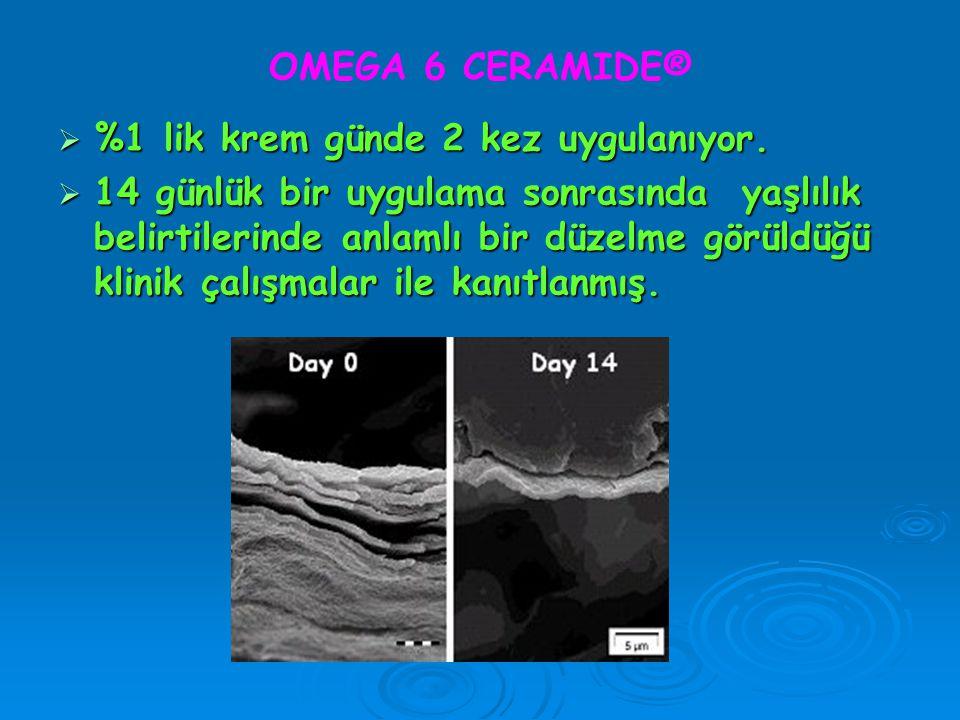 OMEGA 6 CERAMIDE®  %1 lik krem günde 2 kez uygulanıyor.  14 günlük bir uygulama sonrasında yaşlılık belirtilerinde anlamlı bir düzelme görüldüğü kli