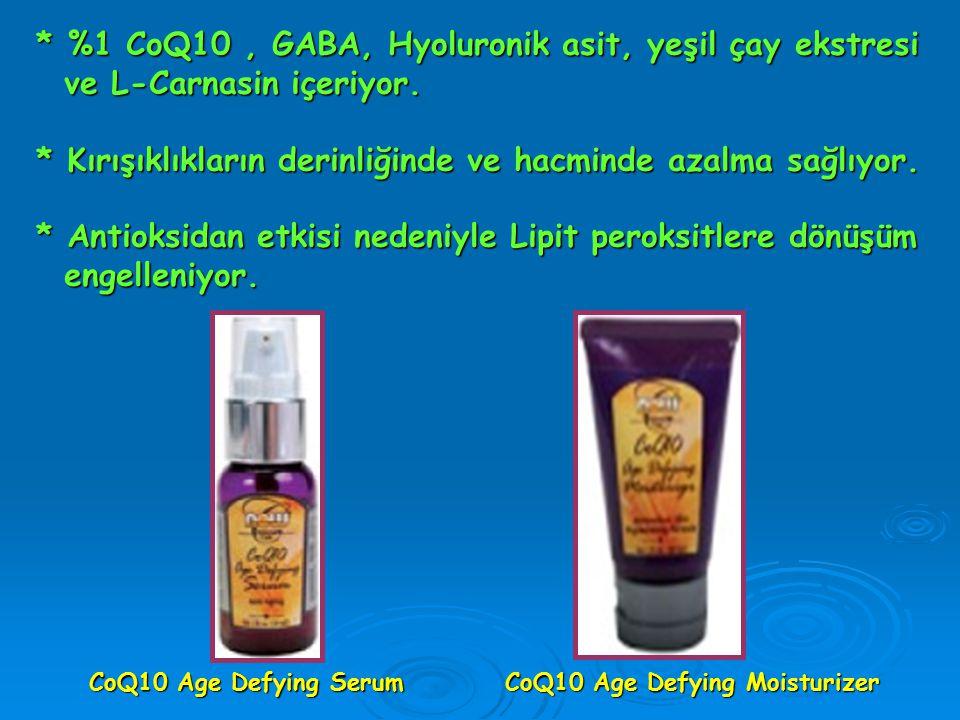 CoQ10 Age Defying Serum CoQ10 Age Defying Moisturizer * %1 CoQ10, GABA, Hyoluronik asit, yeşil çay ekstresi ve L-Carnasin içeriyor. ve L-Carnasin içer