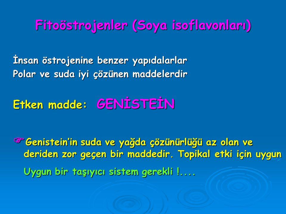 Fitoöstrojenler (Soya isoflavonları) İnsan östrojenine benzer yapıdalarlar Polar ve suda iyi çözünen maddelerdir Etken madde: GENİSTEİN  Genistein'in