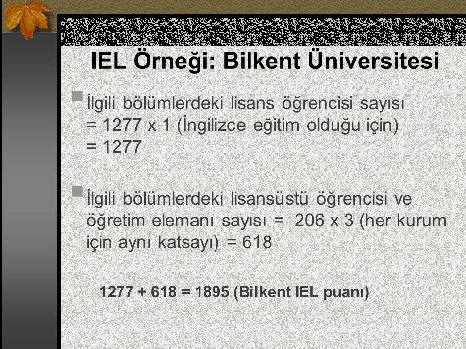 IEL Örneği: Bilkent Üniversitesi  İlgili bölümlerdeki lisans öğrencisi sayısı = 1277 x 1 (İngilizce eğitim olduğu için) = 1277  İlgili bölümlerdeki