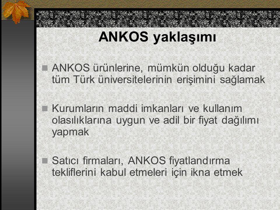 ANKOS yaklaşımı ANKOS ürünlerine, mümkün olduğu kadar tüm Türk üniversitelerinin erişimini sağlamak Kurumların maddi imkanları ve kullanım olasılıklar