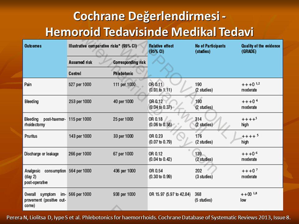 Perera N, Liolitsa D, Iype S et al. Phlebotonics for haemorrhoids. Cochrane Database of Systematic Reviews 2013, Issue 8. Cochrane Değerlendirmesi - H