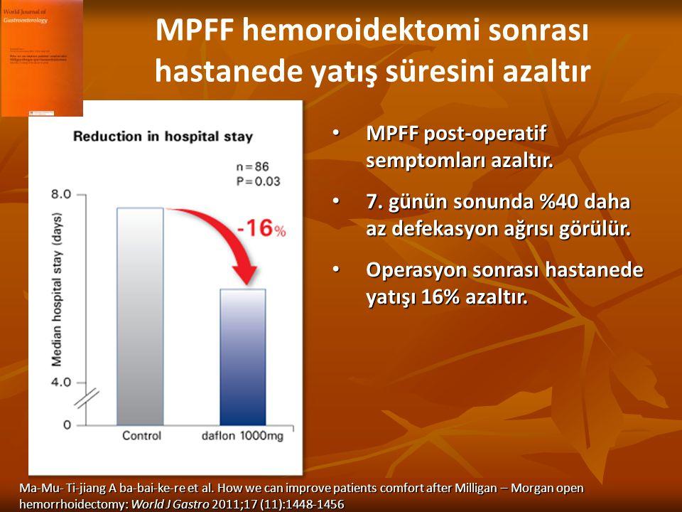 MPFF hemoroidektomi sonrası hastanede yatış süresini azaltır MPFF post-operatif semptomları azaltır. MPFF post-operatif semptomları azaltır. 7. günün