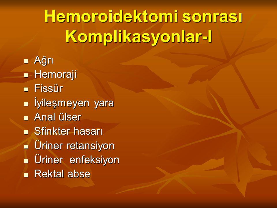Hemoroidektomi sonrası Komplikasyonlar-I Hemoroidektomi sonrası Komplikasyonlar-I Ağrı Ağrı Hemoraji Hemoraji Fissür Fissür İyileşmeyen yara İyileşmeyen yara Anal ülser Anal ülser Sfinkter hasarı Sfinkter hasarı Üriner retansiyon Üriner retansiyon Üriner enfeksiyon Üriner enfeksiyon Rektal abse Rektal abse