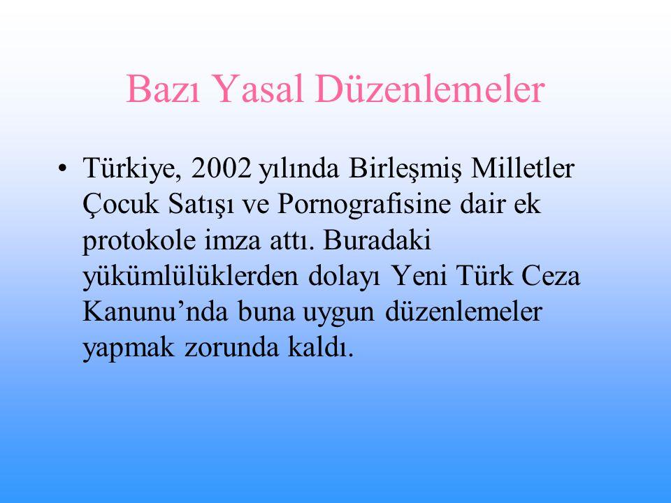 Bazı Yasal Düzenlemeler Türkiye, 2002 yılında Birleşmiş Milletler Çocuk Satışı ve Pornografisine dair ek protokole imza attı.