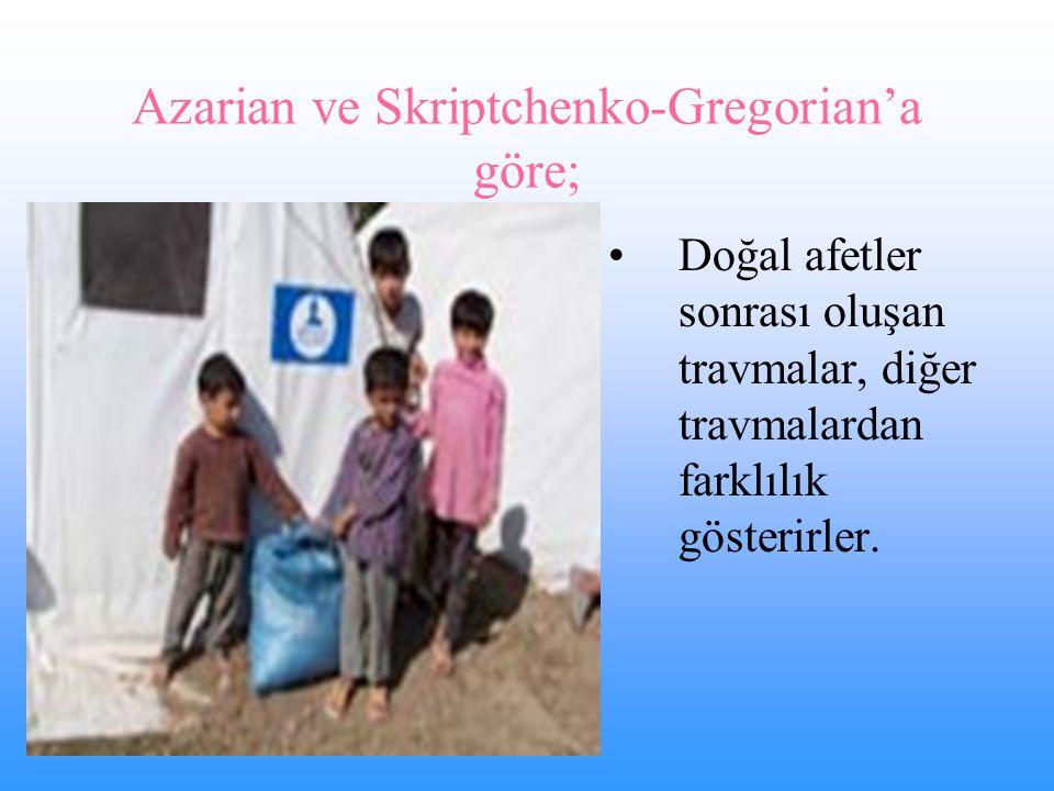 Azarian ve Skriptchenko-Gregorian'a göre; Doğal afetler sonrası oluşan travmalar, diğer travmalardan farklılık gösterirler.