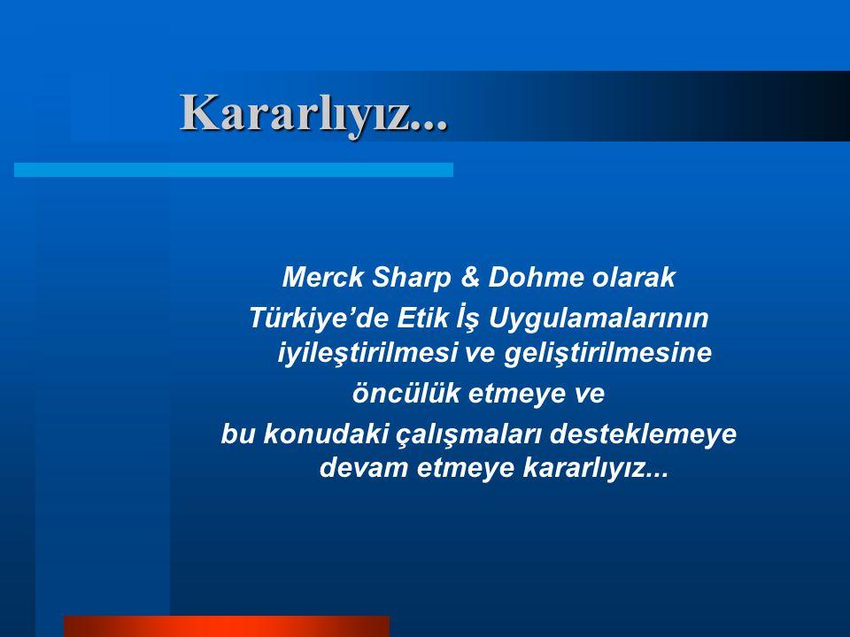 Kararlıyız... Merck Sharp & Dohme olarak Türkiye'de Etik İş Uygulamalarının iyileştirilmesi ve geliştirilmesine öncülük etmeye ve bu konudaki çalışmal