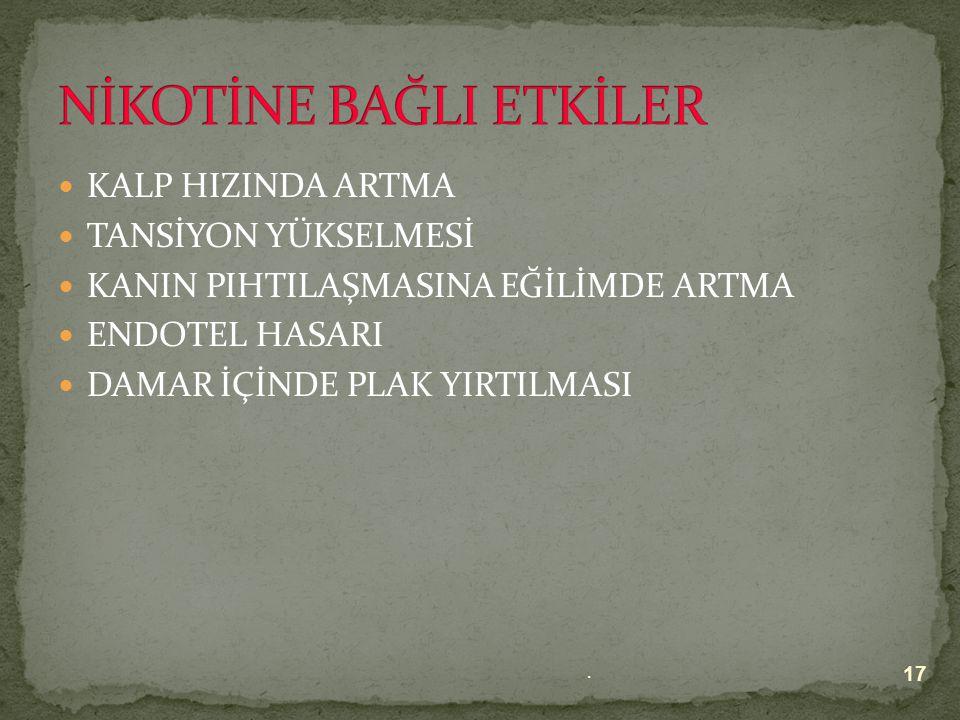 NİKOTİNE BAĞLI ETKİLER KARBON MONOKSİDE BAĞLI ETKİLER 16.