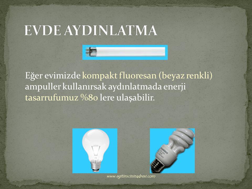 Eğer evimizde kompakt fluoresan (beyaz renkli) ampuller kullanırsak aydınlatmada enerji tasarrufumuz %80 lere ulaşabilir.