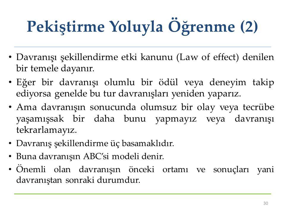 Pekiştirme Yoluyla Öğrenme (2) Davranışı şekillendirme etki kanunu (Law of effect) denilen bir temele dayanır. Eğer bir davranışı olumlu bir ödül veya