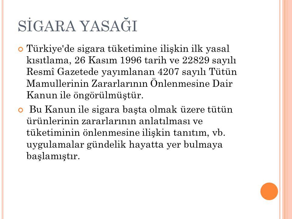SİGARA YASAĞI Türkiye de sigara tüketimine ilişkin ilk yasal kısıtlama, 26 Kasım 1996 tarih ve 22829 sayılı Resmî Gazetede yayımlanan 4207 sayılı Tütün Mamullerinin Zararlarının Önlenmesine Dair Kanun ile öngörülmüştür.