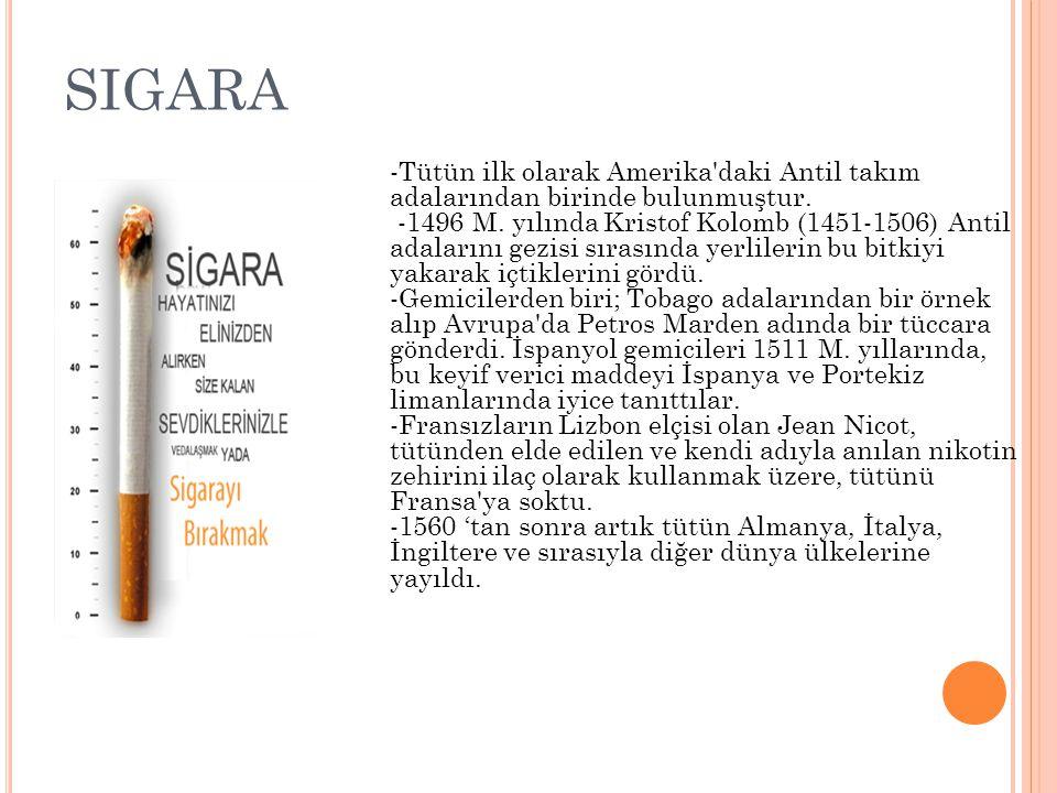 SIGARA -Tütün ilk olarak Amerika daki Antil takım adalarından birinde bulunmuştur.