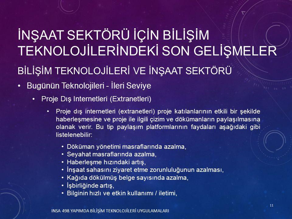 11 BİLİŞİM TEKNOLOJİLERİ VE İNŞAAT SEKTÖRÜ Bugünün Teknolojileri - İleri Seviye Proje Dış Internetleri (Extranetleri) Proje dış internetleri (extranetleri) proje katılanlarının etkili bir şekilde haberleşmesine ve proje ile ilgili çizim ve dökümanların paylaşılmasına olanak verir.