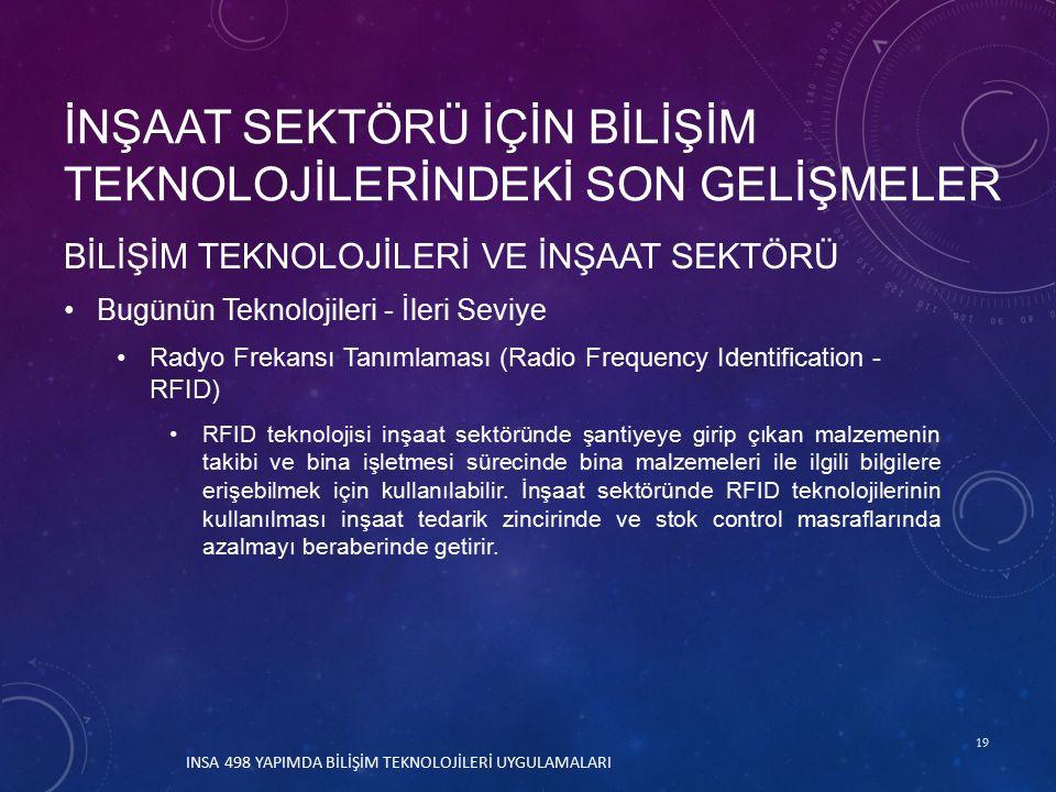 19 BİLİŞİM TEKNOLOJİLERİ VE İNŞAAT SEKTÖRÜ Bugünün Teknolojileri - İleri Seviye Radyo Frekansı Tanımlaması (Radio Frequency Identification - RFID) RFID teknolojisi inşaat sektöründe şantiyeye girip çıkan malzemenin takibi ve bina işletmesi sürecinde bina malzemeleri ile ilgili bilgilere erişebilmek için kullanılabilir.