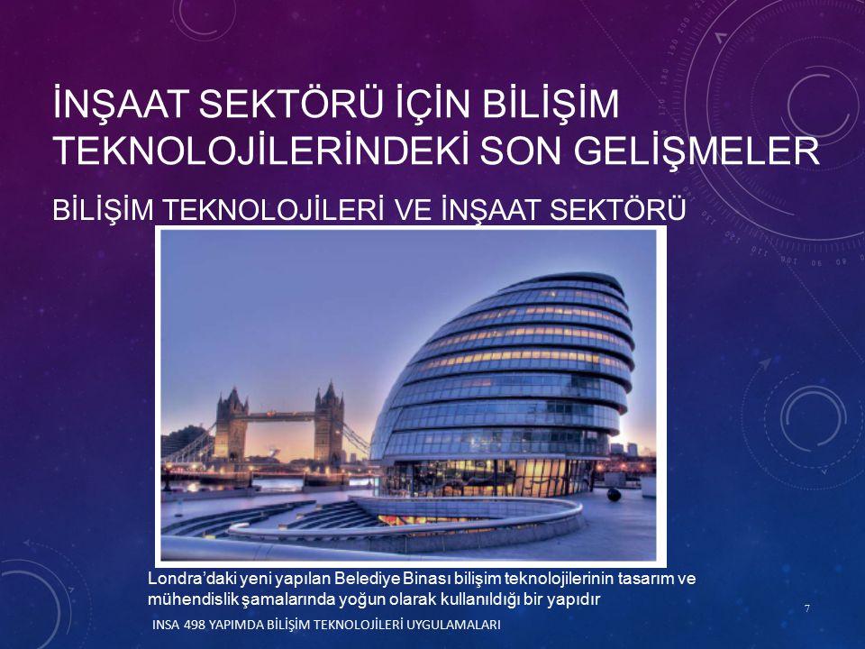 7 BİLİŞİM TEKNOLOJİLERİ VE İNŞAAT SEKTÖRÜ İNŞAAT SEKTÖRÜ İÇİN BİLİŞİM TEKNOLOJİLERİNDEKİ SON GELİŞMELER Londra'daki yeni yapılan Belediye Binası bilişim teknolojilerinin tasarım ve mühendislik şamalarında yoğun olarak kullanıldığı bir yapıdır INSA 498 YAPIMDA BİLİŞİM TEKNOLOJİLERİ UYGULAMALARI