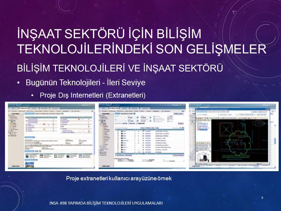 9 BİLİŞİM TEKNOLOJİLERİ VE İNŞAAT SEKTÖRÜ Bugünün Teknolojileri - İleri Seviye Proje Dış Internetleri (Extranetleri) İNŞAAT SEKTÖRÜ İÇİN BİLİŞİM TEKNOLOJİLERİNDEKİ SON GELİŞMELER Proje extranetleri kullanıcı arayüzüne örnek INSA 498 YAPIMDA BİLİŞİM TEKNOLOJİLERİ UYGULAMALARI