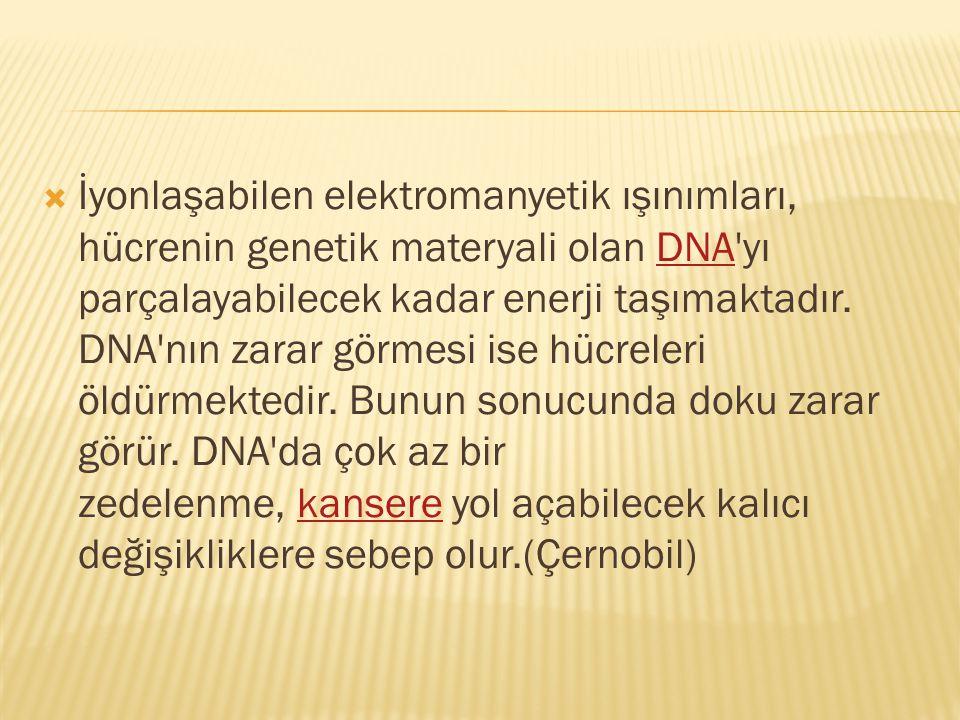  İyonlaşabilen elektromanyetik ışınımları, hücrenin genetik materyali olan DNA'yı parçalayabilecek kadar enerji taşımaktadır. DNA'nın zarar görmesi i