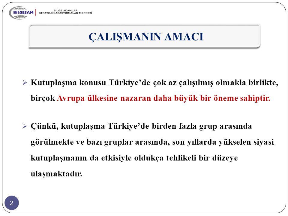 2 ÇALIŞMANIN AMACI  Kutuplaşma konusu Türkiye'de çok az çalışılmış olmakla birlikte, birçok Avrupa ülkesine nazaran daha büyük bir öneme sahiptir. 
