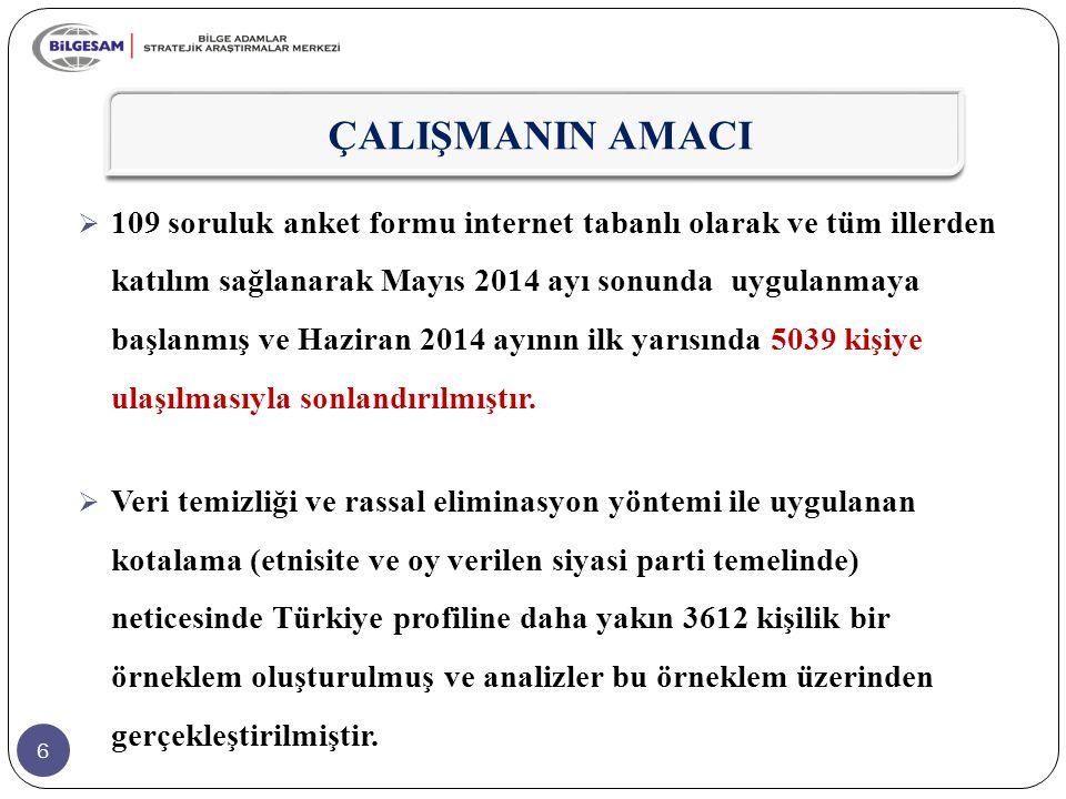 6 ÇALIŞMANIN AMACI  109 soruluk anket formu internet tabanlı olarak ve tüm illerden katılım sağlanarak Mayıs 2014 ayı sonunda uygulanmaya başlanmış v