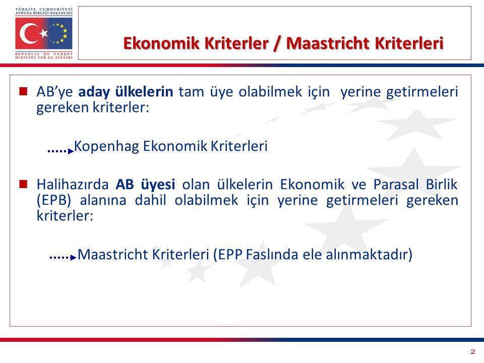2 Ekonomik Kriterler / Maastricht Kriterleri AB'ye aday ülkelerin tam üye olabilmek için yerine getirmeleri gereken kriterler: Kopenhag Ekonomik Kriterleri Halihazırda AB üyesi olan ülkelerin Ekonomik ve Parasal Birlik (EPB) alanına dahil olabilmek için yerine getirmeleri gereken kriterler: Maastricht Kriterleri (EPP Faslında ele alınmaktadır)