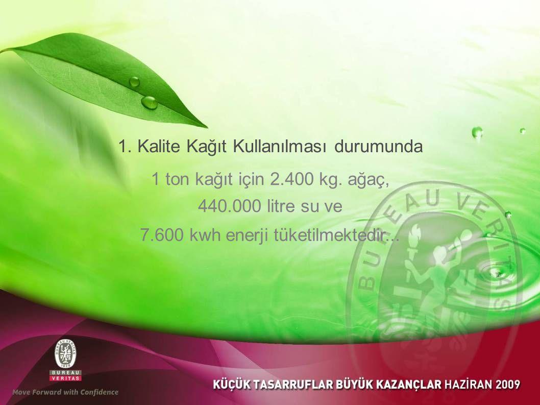 1.Kalite Kağıt Kullanılması durumunda 1 ton kağıt için 2.400 kg.