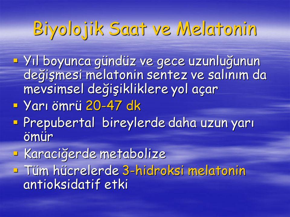 Biyolojik Saat ve Melatonin  Yıl boyunca gündüz ve gece uzunluğunun değişmesi melatonin sentez ve salınım da mevsimsel değişikliklere yol açar  Yarı ömrü 20-47 dk  Prepubertal bireylerde daha uzun yarı ömür  Karaciğerde metabolize  Tüm hücrelerde 3-hidroksi melatonin antioksidatif etki