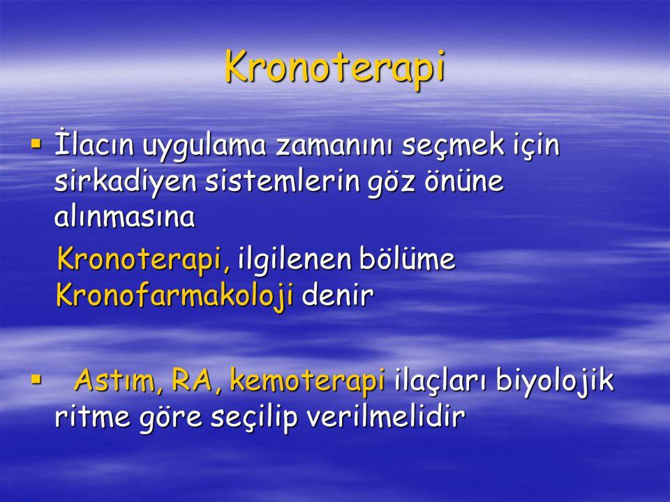 Kronoterapi  İlacın uygulama zamanını seçmek için sirkadiyen sistemlerin göz önüne alınmasına Kronoterapi, ilgilenen bölüme Kronofarmakoloji denir Kronoterapi, ilgilenen bölüme Kronofarmakoloji denir  Astım, RA, kemoterapi ilaçları biyolojik ritme göre seçilip verilmelidir