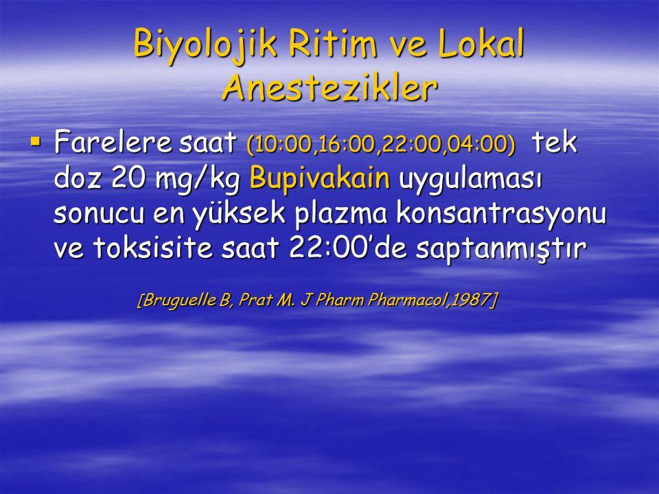 Biyolojik Ritim ve Lokal Anestezikler  Farelere saat (10:00,16:00,22:00,04:00) tek doz 20 mg/kg Bupivakain uygulaması sonucu en yüksek plazma konsantrasyonu ve toksisite saat 22:00'de saptanmıştır [ Bruguelle B, Prat M.