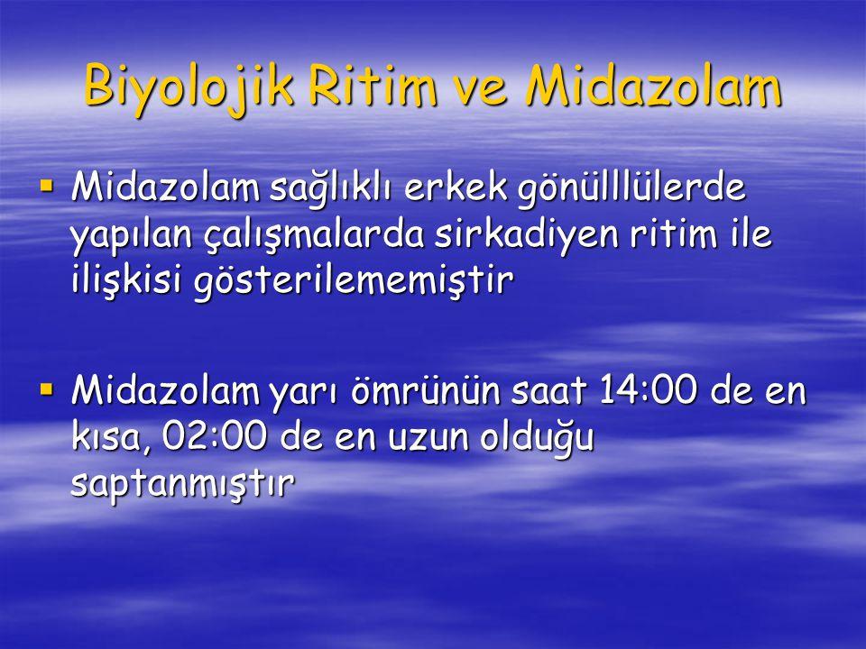 Biyolojik Ritim ve Midazolam  Midazolam sağlıklı erkek gönülllülerde yapılan çalışmalarda sirkadiyen ritim ile ilişkisi gösterilememiştir  Midazolam yarı ömrünün saat 14:00 de en kısa, 02:00 de en uzun olduğu saptanmıştır