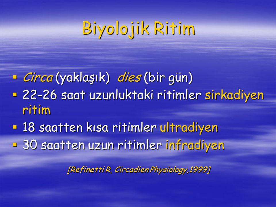 Biyolojik Ritim  Circa (yaklaşık) dies (bir gün)  22-26 saat uzunluktaki ritimler sirkadiyen ritim  18 saatten kısa ritimler ultradiyen  30 saatten uzun ritimler infradiyen [Refinetti R, Circadien Physiology,1999] [Refinetti R, Circadien Physiology,1999]