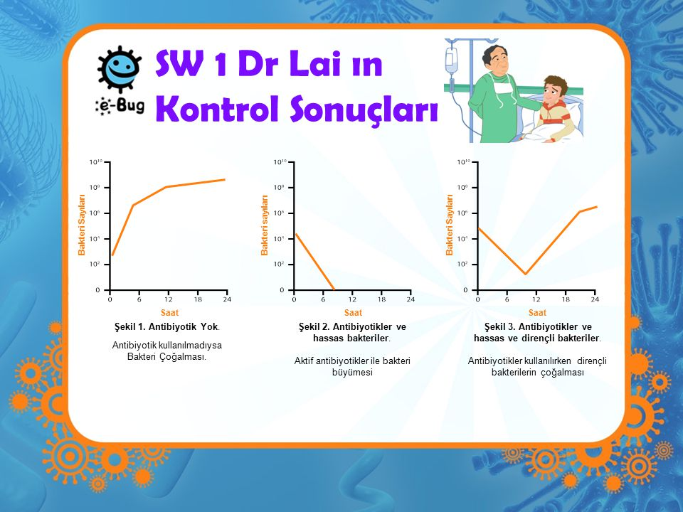 SW 1 Dr Lai ın Kontrol Sonuçları Saat Bakteri sayıları Saat Bakteri Sayıları Şekil 1. Antibiyotik Yok. Antibiyotik kullanılmadıysa Bakteri Çoğalması.