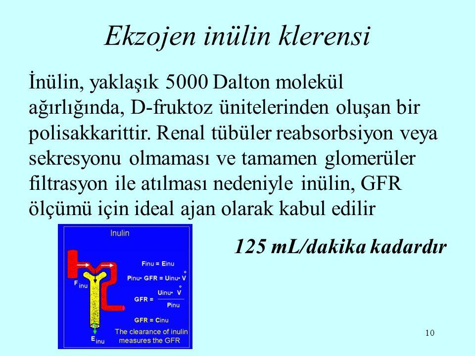 10 Ekzojen inülin klerensi İnülin, yaklaşık 5000 Dalton molekül ağırlığında, D-fruktoz ünitelerinden oluşan bir polisakkarittir. Renal tübüler reabsor