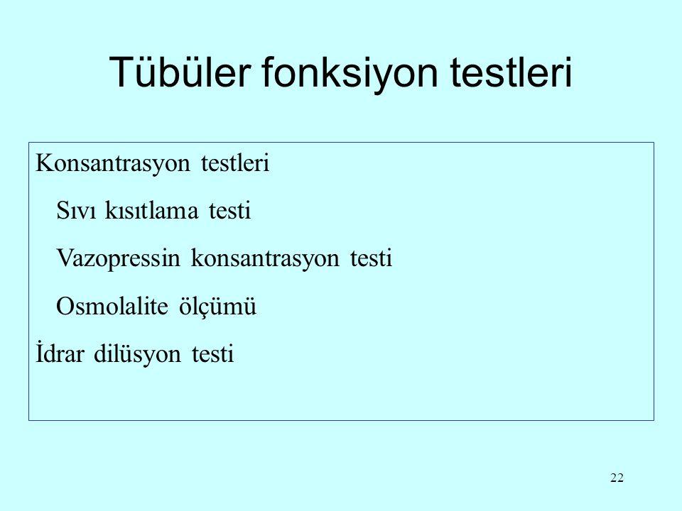 22 Tübüler fonksiyon testleri Konsantrasyon testleri Sıvı kısıtlama testi Vazopressin konsantrasyon testi Osmolalite ölçümü İdrar dilüsyon testi