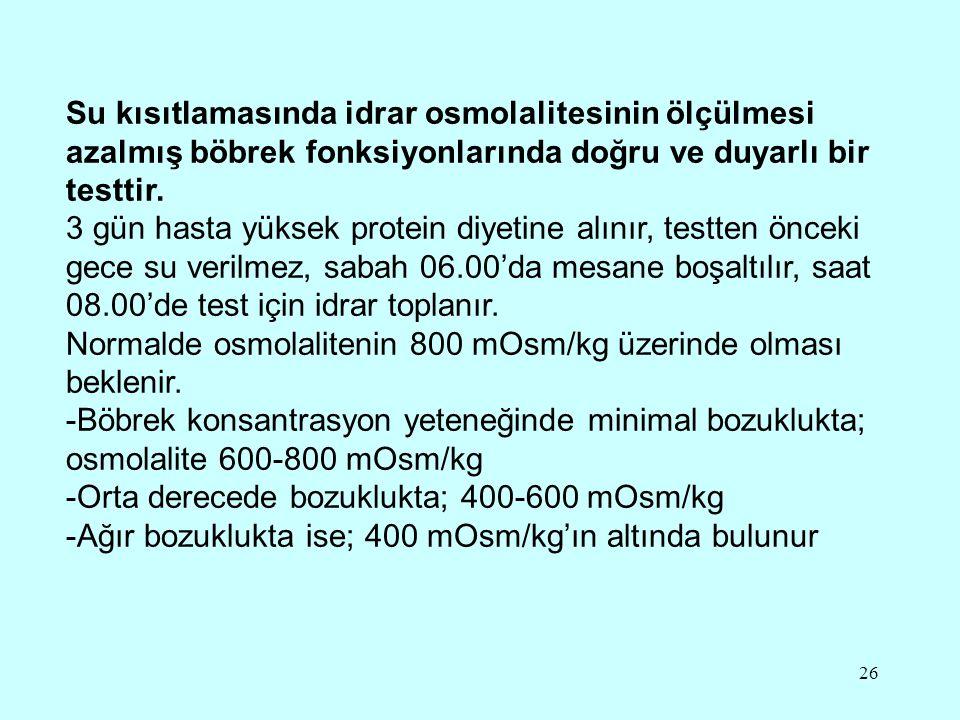 26 Su kısıtlamasında idrar osmolalitesinin ölçülmesi azalmış böbrek fonksiyonlarında doğru ve duyarlı bir testtir. 3 gün hasta yüksek protein diyetine