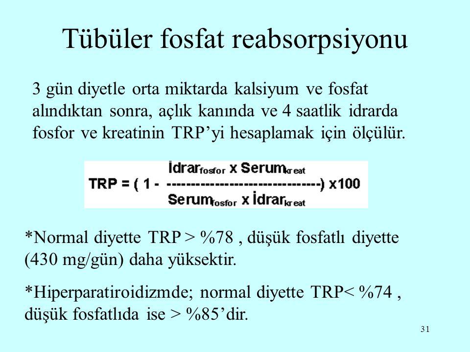 31 Tübüler fosfat reabsorpsiyonu 3 gün diyetle orta miktarda kalsiyum ve fosfat alındıktan sonra, açlık kanında ve 4 saatlik idrarda fosfor ve kreatin