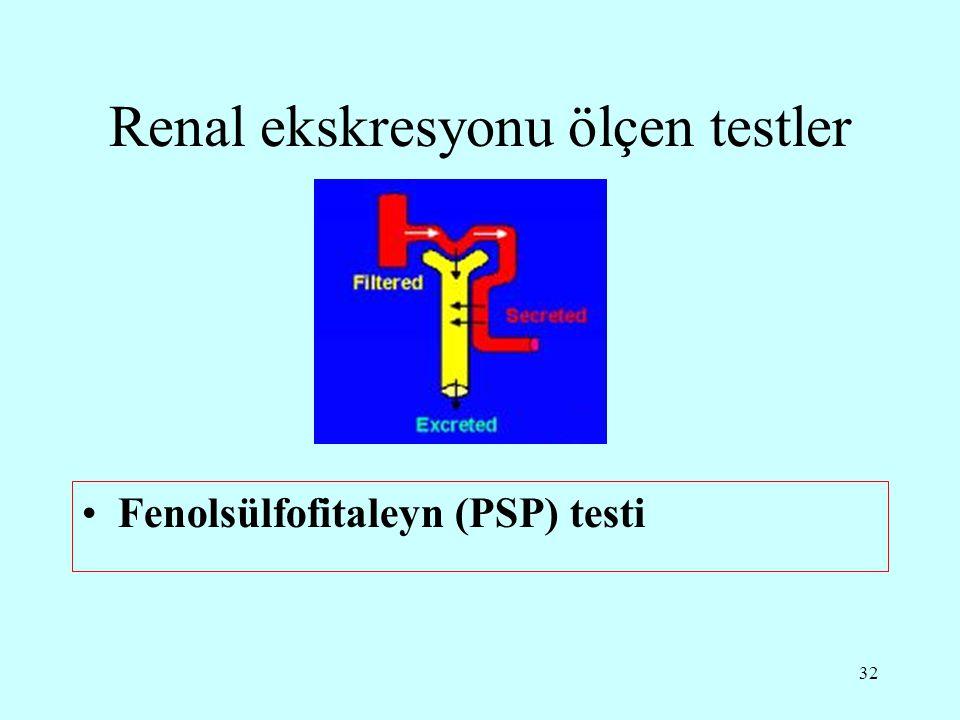 32 Renal ekskresyonu ölçen testler Fenolsülfofitaleyn (PSP) testi