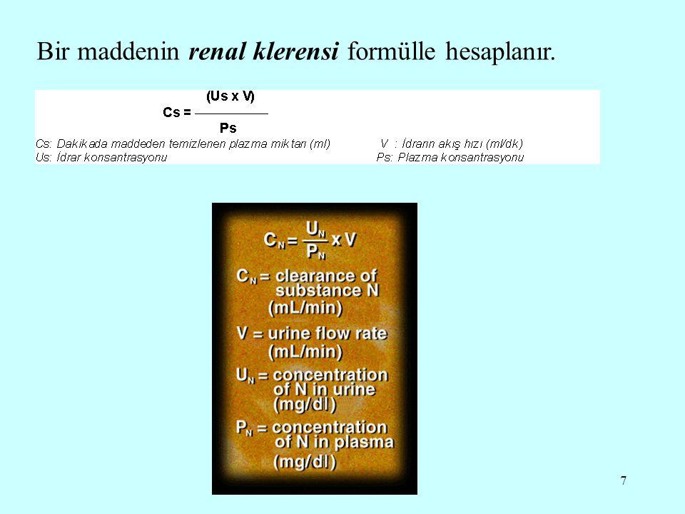 18 Üre klerensi GFR'nın %40-70'ini yansıtır İdrar akışı dakikada 2 mL'den fazla ise maksimal üre klerensi hesaplanır.